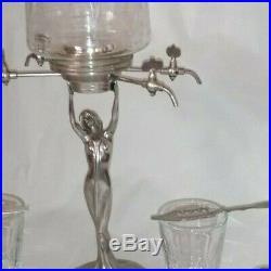Fontaine absinthe art déco + verre + cuillère + coquille st jaque + porte sucre