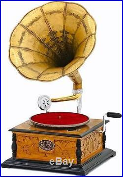 Gramophone Fonctionnel Grammophone Style Art Nouveau Deco En Bois