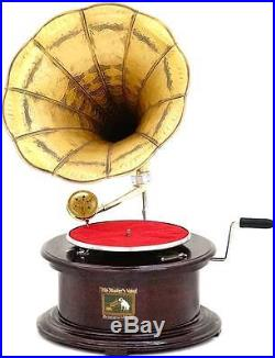 Gramophone Octogonal Style Art Nouveau Deco Grammophone Phonographe Fonctionnel