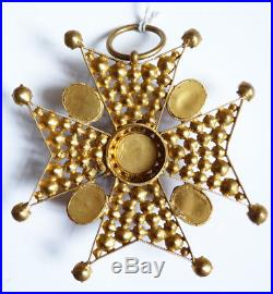 Grande croix de Malte Pendentif avec strass bijou ancien