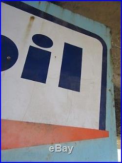 Grande plaque émaillée MOBIL de Art France Luynes, déco atelier, vintage, loft