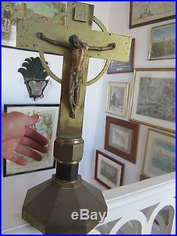 Important Et Ancien Christ En Bronze Epoque Art Deco D Eglise Dans Son Jus Etat
