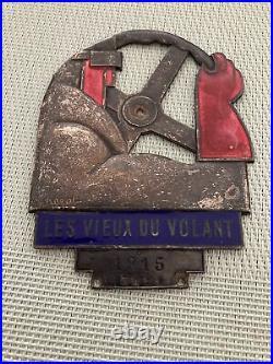 Insigne Plaque Émaillé Art Deco Les Vieux Du Volant 1915