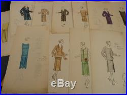 JEAN PATOU 64 DESSINS ORIGINAUX EN COULEUR HAUTE COUTURE 1920s MODE ART DECO