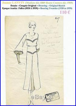 Jeanne LANVIN Très Rare Croquis Original Encre Chine Epoque Années Folles n°607
