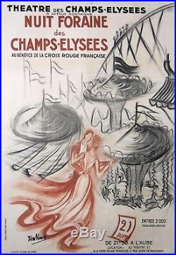 KING AFFICHE ANCIENNE ART DECO NUIT FORAINE DES CHAMPS ELYSEES PARIS ci 1925