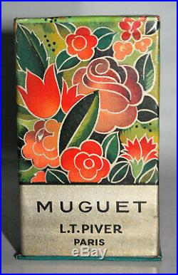 LT PIVER ANCIEN FLACON de PARFUM MUGUET PLEIN SCELLÉ + EMBALLAGE ART DÉCO 1930