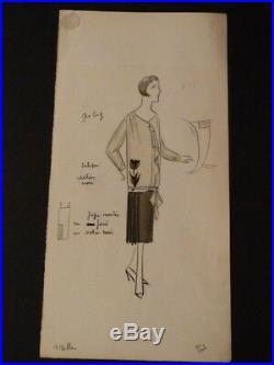 Maison MILLER 6 DESSINS ORIGINAUX en COULEURS HAUTE COUTURE 1920 MODE ART DECO