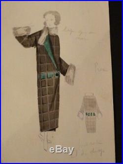 Maison PREMET 13 DESSINS ORIGINAUX COULEURS HAUTE COUTURE 1920's MODE ART DECO