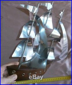 Maquette bateau vintage Voilier 3 mâts années 50 Palissandre & laiton chromé