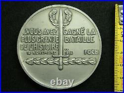 Medaille Argent Art Deco P. Turin La Victoire- Bataille De L'histoire 1918 Foch