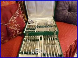 Ménagère ancienne style art déco 2 poinçons 62 pièces métal argenté et inox