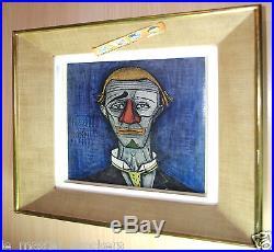 Oeuvre toile Tête clown Bernard BUFFET (1928-99) Art déco peinture vintage cadre