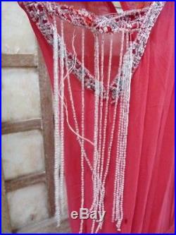 Old dress robe ancienne années 20 perles broderie soie Art Déco couture Paris