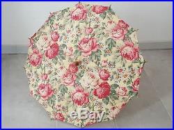 Ombrelle ancienne époque art déco en coton fleuri décor de roses shabby 13566