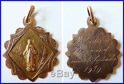 Pendentif médaille en OR massif Sainte Vierge Marie ancien 1919 medal
