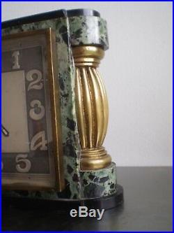 Pendule Horloge Cotna Paris Art Deco Mvt Electrique 1930 Bronze Dore Marbre