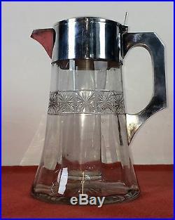 Pichet-refroidisseur De Boisson. Métal Argenté. Cristal. Espagne. Circa 1920