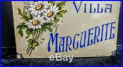 Plaque Bombee Emaillee Villa Marguerite B. H. V Paris Periode Art Deco 1920