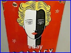 Plaque émaillée Art Déco Blanchissement de la peau Pearline Paris 1930