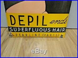 Plaque émaillée FEMME DESIGN Art Déco DEPIL épilation Pearline Paris 1930