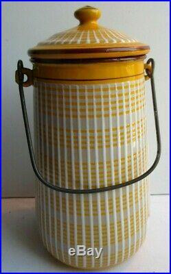 Pot à lait Art Déco, tôle émaillée comme cafetière, jaune et blanc signé BB