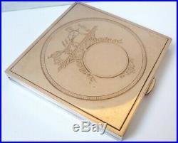 Poudrier ancien signé HERMES Paris argent + vermeil + rubis Calèche powder box