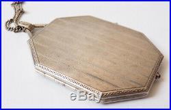 Poudrier minaudière en argent massif silver powder box Art Deco vers 1920 123 gr