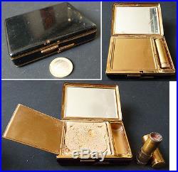 Poudrier minaudière laque noire vers 1920 Art Deco powder box