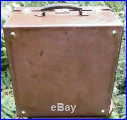 Prestigieuse Malle Cuir Leather Bagage Epoque Art Deco Voyage Transatlantique