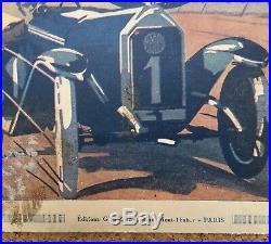 Publicité Art Déco automobile ancienne voiture Mathis couple fauteuil Gypé 1923