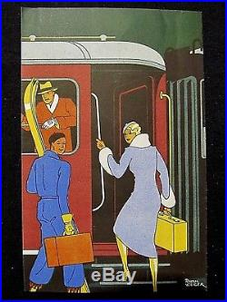 Raoul Auger Rare affichette dépliant art-déco PLM Nous partons pour une semaine