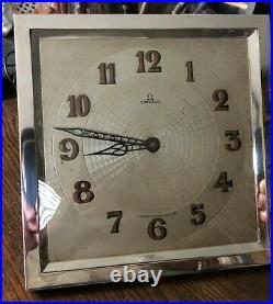 Rare Omega 1930 Art Déco Manteau Horloge 20.3X20.3cm Rectangulaire