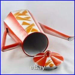 Rare THEIERE Vintage Tole Emaillée, Art Déco 30 AUBECQ orange/loft/pop/retro