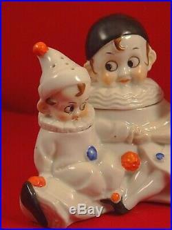 Rare ancienne salière poivrière moutardier porcelaine Pierrot Colombine Art Déco