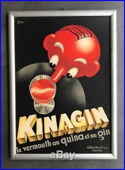 Rare carton publicitaire Kinagin Art Déco design par Patké kubler travers suisse