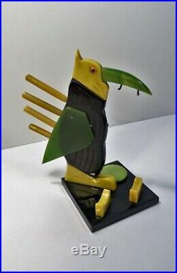 Rare nécessaire de bureau Encrier porte plume toucan stylisé bakélite Art Déco