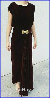 Rare superbe authentique robe en velours bordeaux 1920 années 20 Art Déco dress