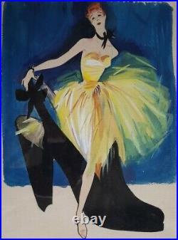 Rene Gruau (ou D'apres) Aquarelle Pub Pour Les Chaussures Bally 1947