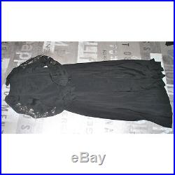 Robe longue Rétro en crèpe noir ART DECO 1920 Cache-coeur / manches sequin T42