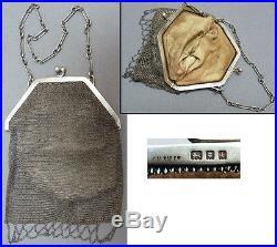 Sac bourse aumonière cote de maille argent massif Art Deco 1926 silver bag 110 g