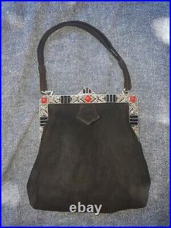Sac bourse aumônière de soirée argent Art Déco Antique solid silver hand bag