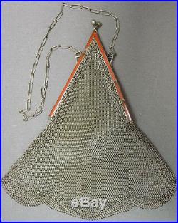Sac de soirée bourse cote de maille metal + émail ART DECO vers 1925 bag