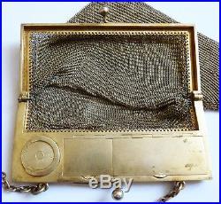 Sac de soirée minaudière porte louis argent massif 310 gr poudrier vers 1920