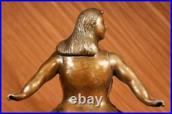 Sculpture de Collection Bronze Décor Art Déco Abstrait Botero Jeune Femme