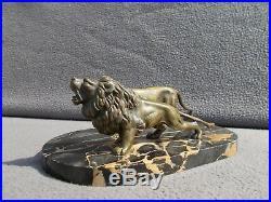 Sculpture lion & lionne en bronze art deco 1920 1930 statue figural 30s antique