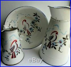 Service de toilette 3 pièces, ART DECO signé JAPY FRANCE, tôle émaillée Oiseau