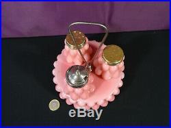 Serviteur art déco à condiments opaline rose