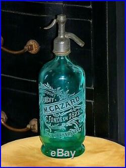 Siphon. Seltz. Superbe siphon turquoise à torsades ART DECO. Cazard à MALAKOFF