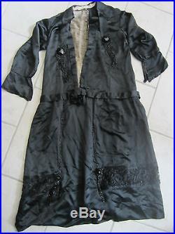 Splendide Robe D Epoque Art Deco En Soie Et Geai Jais Noire French Mode Vintage